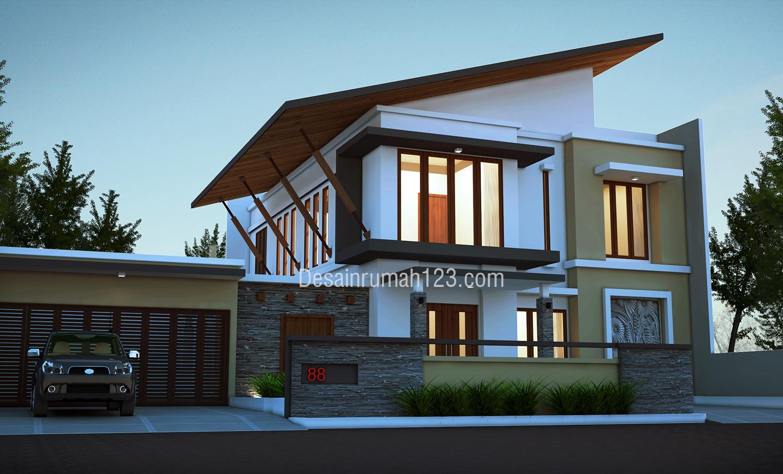 Desain Rumah Modern Tropis 2 Lantai