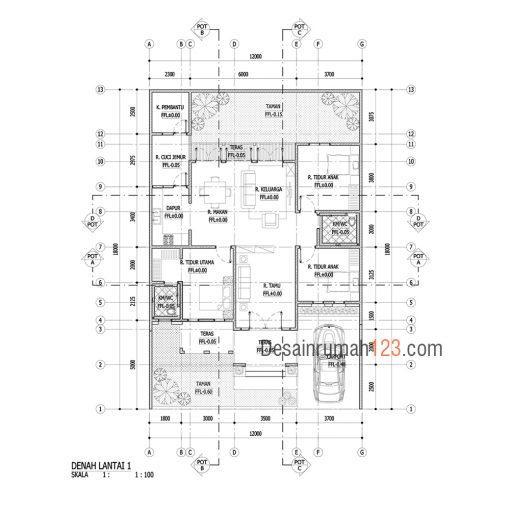 Desain Rumah Tropis 1 Lantai di Lahan 12 x 18 M2 | DR – 1202