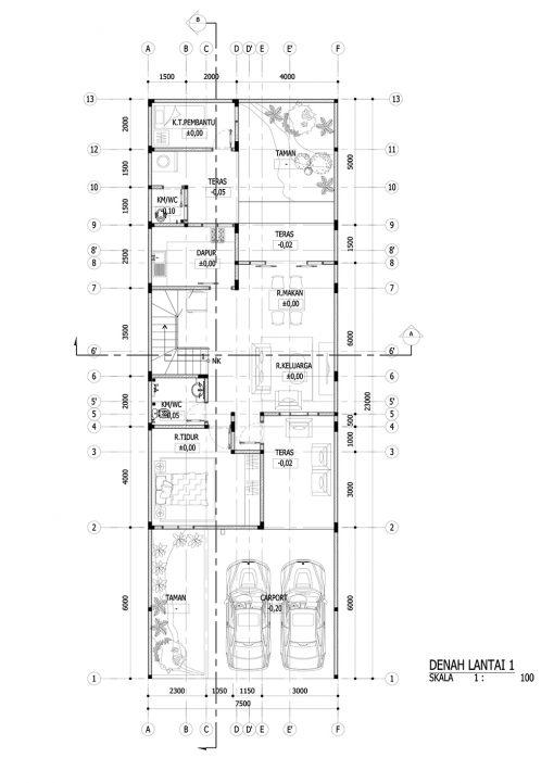 Desain Rumah 2 Lantai di Lahan 7 x 23 M2 | DR – 701