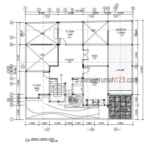 Desain Rumah Minimalis 2 Lantai 15 x 13 M2 | DR – 1501