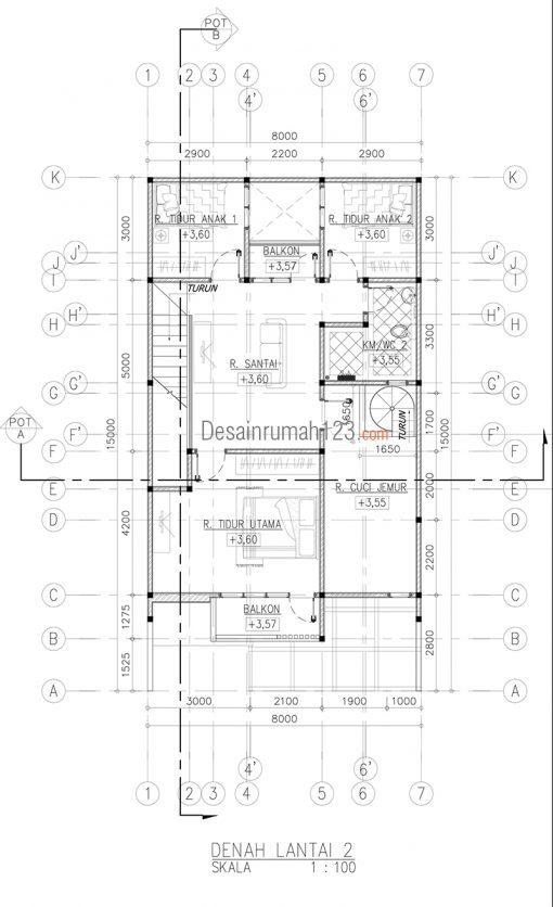 Desain Rumah 2 Lantai di Lahan 8 x 15 M2 | DR – 801