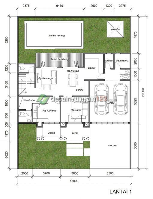 Desain Rumah Klasik 2 Lantai di Lahan 15 x 20 M2 | DR – 1502