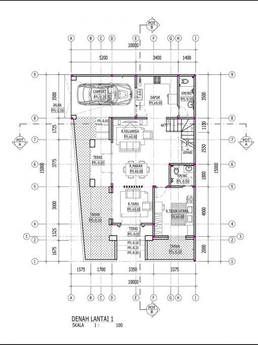 Desain Rumah Hook 10 x 15 M2 2 Lantai   DR – 1007