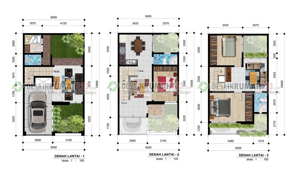 Desain Rumah 6 X 10 M2 Tiga Lantai Desain Rumah Jakarta
