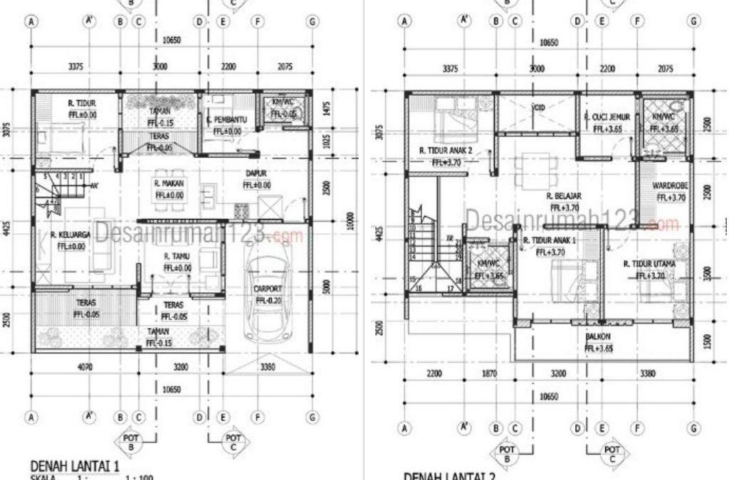 Desain Rumah 2 Lantai Ukuran 10, 6 x 10 M2