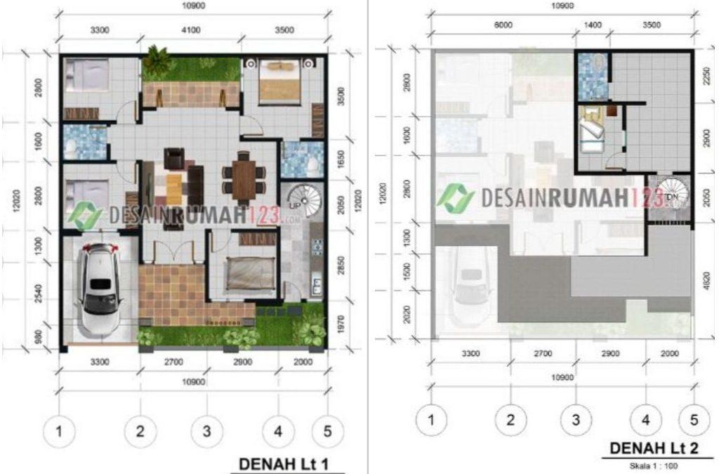 Desain Rumah 10,9 x 12 M2 Satu Setengah Lantai