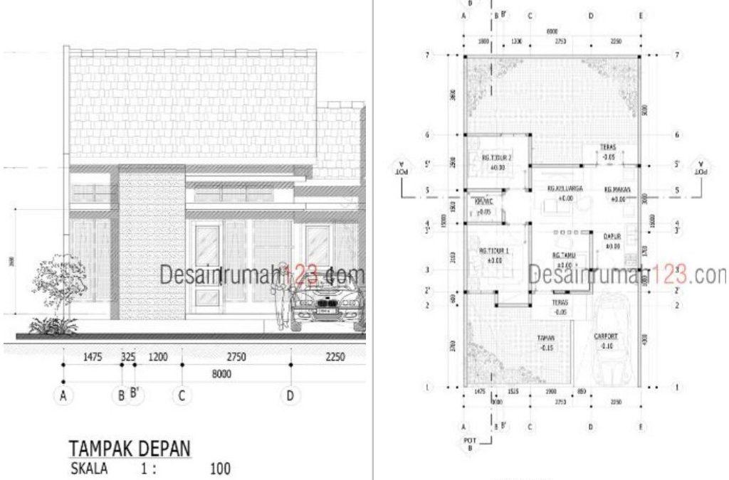 Desain Rumah 8×15 M2 Satu Lantai