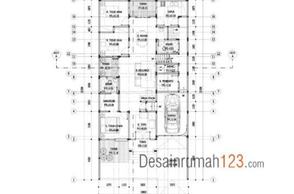 Desain Rumah 10 x 20 M2 Hunian 1,5 Lantai Ada Taman Indoor