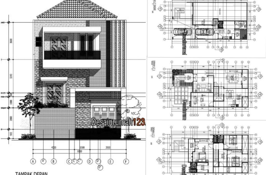 Desain Rumah 9 x 18 M2 Tiga Lantai Ada Ruang Musik