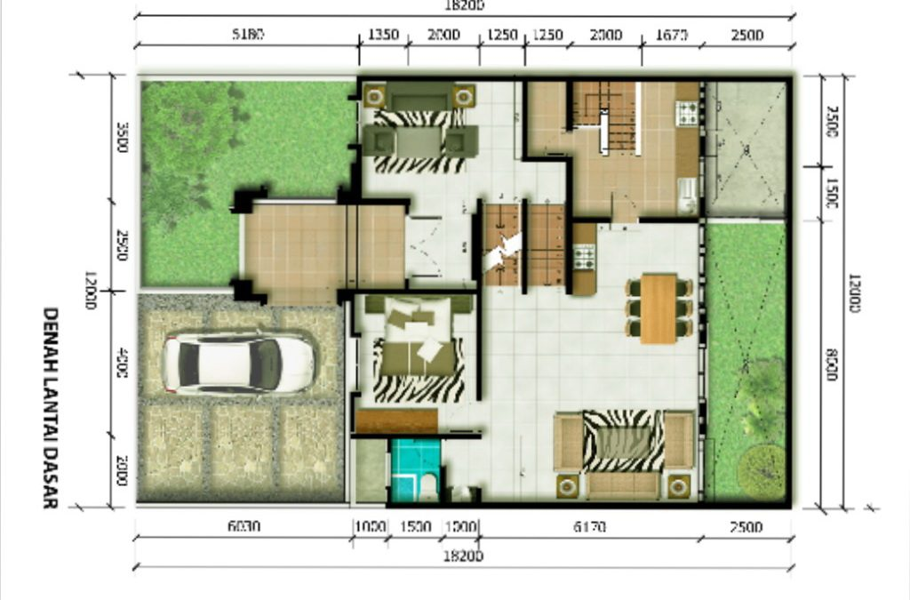 Desain Rumah Klasik 12 x 18,5 M2 Dua Lantai Ada Lantai Mezzanin
