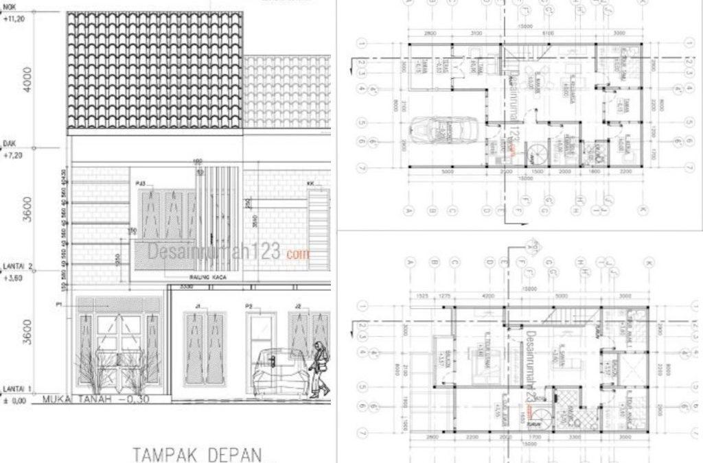 Desain Rumah 8 x 15 M2 Ada Ruang Kerja Hadap Taman 2 Lantai
