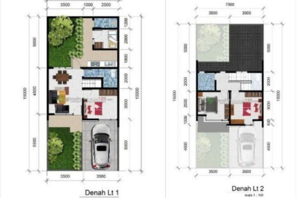 Desain Rumah 7 x 15 M2 Dua Lantai Ada Taman Belakang