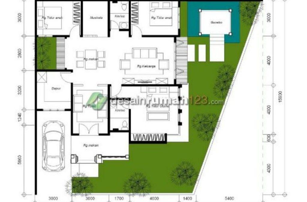 Desain Rumah Hook 15,9 x 18,5 M2 Satu Lantai  Ada Mushola