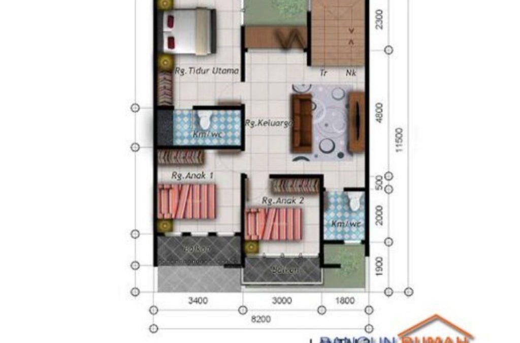 Desain Rumah 8,2 x 11,5 M2 2 Lantai Gaya Tropis Minimalis