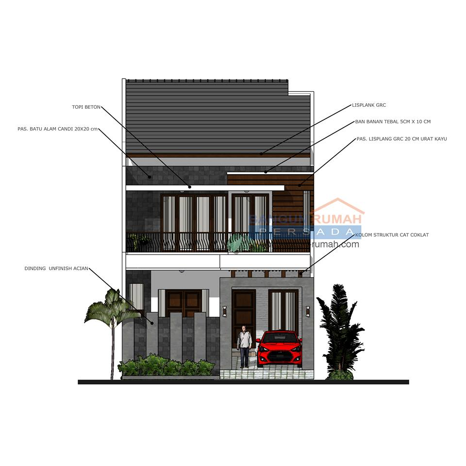 Desain Rumah 2 Lantai Di Lahan 8 X 15 M2 Dr 8021