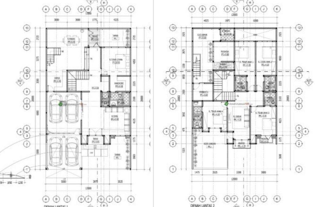Desain Rumah 12 x 20 M2 2 Lantai Ada Mushola Dan Roof Garden