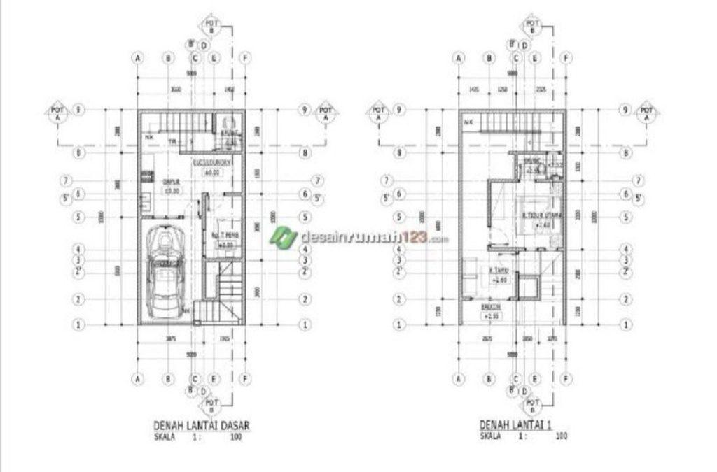 Desain Rumah Minimalis 5 x 10 m2 Dengan Roof Garden