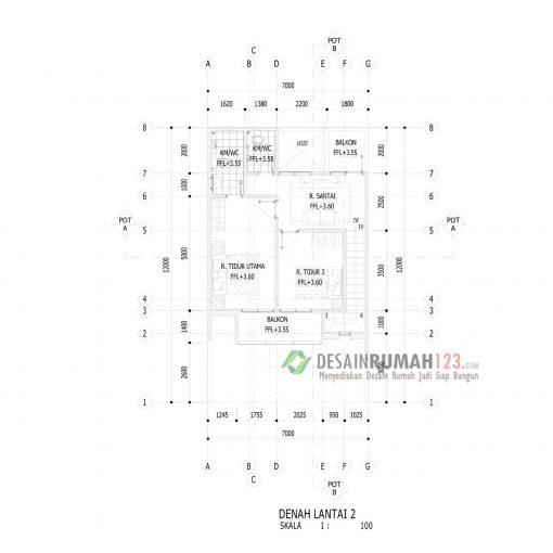 Desain Rumah 2 Lantai di Lahan 7 x 12 M2 | DR – 709