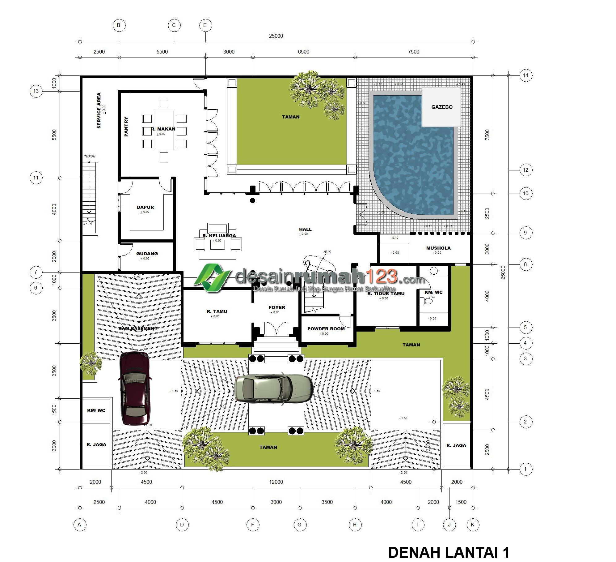 Desain Rumah Klasik 3 Lantai di Lahan 25 x 25 M2 | DRK ...