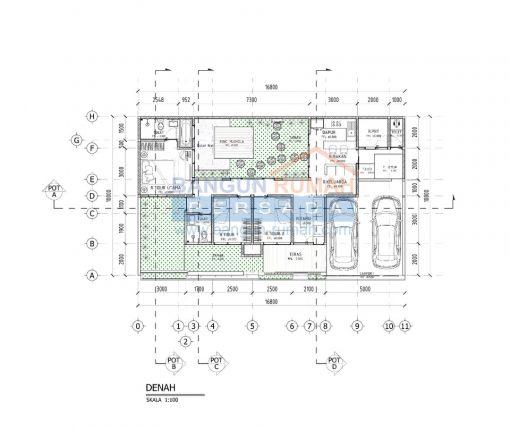 Desain Rumah 1 Lantai di Lahan 16,8 x 10 M2   DR – 1680