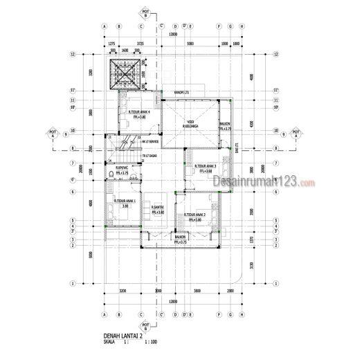 Desain Rumah Tropis 2 Lantai di Lahan Hook 12 x 20 M2 | DR – 1201