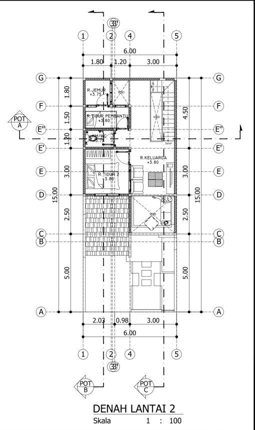 Desain Rumah 2 Lantai di Lahan 6 x 15 M2 | DR – 615