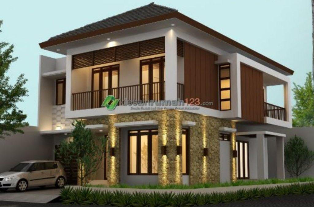 Desain Rumah Hook 2 Lantai Di Lahan 12 X 20 M2 Bergaya Rumah Tropis