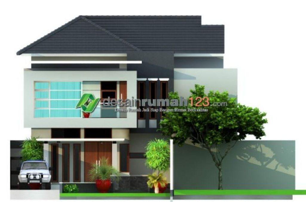 Desain Rumah 2 Lantai Di Lahan 15 x 29 M2 Dengan Taman Luas