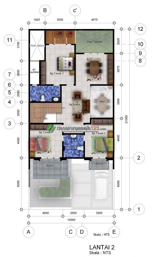 Desain Rumah 3 Lantai di Lahan 10 x 21 M2 | DR – 1023