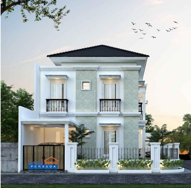 Desain Rumah Klasik 2 Lantai Di Lahan Hook Ukuran 17 x 11 m2